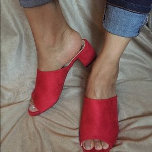 Shoes - Ruby red slip on mules